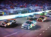 Nascar Digital Art Prints - Into The Night Print by Steven Richardson