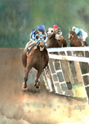 Horse Racing Paintings - Into The Stretch And Headed For Home-Secretariat by Arline Wagner