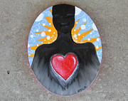 Sacred Heart Paintings - ...into the Universe by Oscar Cielos