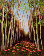Vic Mastis Painting Metal Prints - Into the Woods-Poppies Metal Print by Vic  Mastis