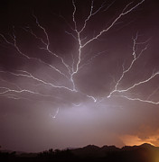 Arizona Lightning Prints - Intra-cloud Lightning At Night, Over Phoenix, Usa Print by Keith Kent