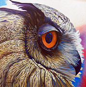 Owl Paintings - Introspection by Brian  Commerford