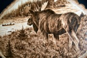 Alaska Moose Pyrography - Intruders by Adam Owen