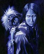 Monotone Painting Acrylic Prints - Inuit Mother and Child Acrylic Print by Nancy Griswold