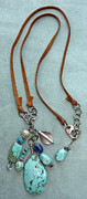 Silver Turquoise Jewelry - Inukshuk 6 Necklace by Marta Eagle