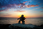 Inukshuk Art - Inukshuk at Sunset by Christine Sharp
