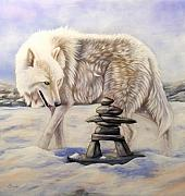 White Wolf Posters - Inuksuk Poster by Sandi Baker