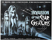 1960s Poster Art Posters - Invasion Of The Star Creatures Poster by Everett