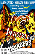 1950s Poster Art Framed Prints - Invisible Invaders, Bottom From Left Framed Print by Everett