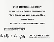 Atomic Bomb Prints - Invitation To British Mission Party Print by Los Alamos National Laboratory