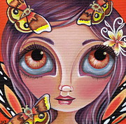 Kitsch Painting Posters - Io Moth Fairy Poster by Jaz Higgins