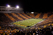Aerial Posters - Iowa Black and Gold Stripes at Kinnick Stadium Poster by Justin Scott
