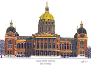 Iowa Greeting Cards Posters - Iowa State Capitol Poster by Frederic Kohli