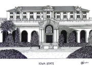 Pen And Ink Historic Buildings Drawings Drawings - Iowa State by Frederic Kohli