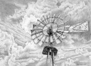 Midwest Drawings - Iowa Windmill by Craig Carlson