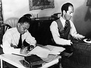 Playing Piano Posters - Ira And George Gershwin At Work Poster by Everett