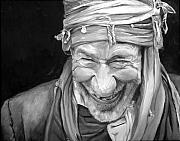Elderly People Paintings - Iranian Man by Enzie Shahmiri