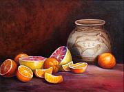 Pottery Painting Prints - Iranian Still Life Print by Enzie Shahmiri