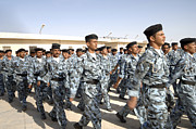 Physical Fitness Framed Prints - Iraqi Police Cadets Being Trained Framed Print by Andrew Chittock