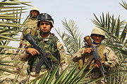 Ak 47 Framed Prints - Iraqi Soldiers Conduct A Foot Patrol Framed Print by Stocktrek Images