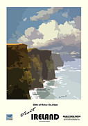 Irish Cliffs Mixed Media Framed Prints - Ireland  Cliffs of Moher Framed Print by Joe O Donnell