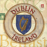 Travel Destination Paintings - Ireland Coat of Arms by Debbie DeWitt