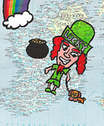 Red Hair Drawings Prints - Ireland Print by Jera Sky