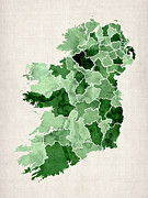 Cartography Digital Art Posters - Ireland Watercolor Map Poster by Michael Tompsett