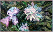 Lavender Drawings Prints - Iris and Peonies Print by Mindy Newman