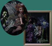 Landscapes Ceramics - Iris Fairy Shadow Box Frame by Shirley Heyn