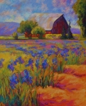Vineyard Landscape Posters - Iris Field Poster by Marion Rose
