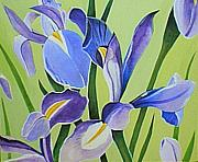 Assorted Painting Framed Prints - Iris Fields - Center Panel Framed Print by Helena Tiainen