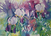 Poured Watercolour Posters - Iris Garden Poster by Leslie Redhead