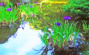 Japanese Tea Garden Paintings - Iris in Afternoon Light by Jerry  Grissom