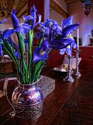 Silver Pitcher Posters - Iris in Silver Pitcher Poster by Paul Cutright