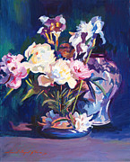 Impressionism Tapestries Textiles Originals - Iris Peonies and Chinese Vase by David Lloyd Glover
