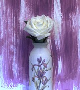 Mauve Art - Iris Vase and White Rose by Marsha Heiken