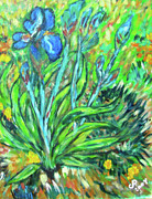 Irises Ala Van Gogh Print by Carolyn Donnell