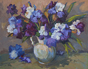 Pitcher Painting Originals - Irises by Diane McClary