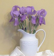 Satin Digital Art - Irises In A Pitcher by Marsha Heiken