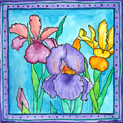 Corwin Paintings - Irises by Pamela  Corwin