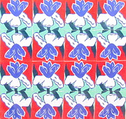 Gouache Paintings - Irises Patriotic by Beth Saffer