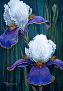 Purple Flowers Pastels Posters - Irises Poster by Tanja Ware