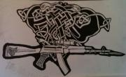 Europe Drawings Originals - Irish Ak-74 by Brett Genda