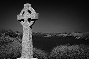 Head Stone Framed Prints - Irish Celtic Cross Overlooking Lake Framed Print by Joe Fox