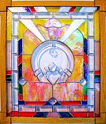 Orange Glass Art Originals - Irish Claddagh Original Stained Glass Panel by Cheryl Brumfield Knox