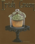 Primitive Painting Posters - Irish Cream Cupcake Poster by Catherine Holman