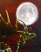 Antler Paintings - Irish Elk in Moonlight by Steven Frost