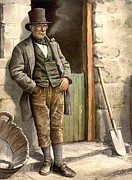 Shovels Prints - Irish Farmer, Of The Late 19th Century Print by Everett