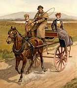 Horse And Buggy Posters - Irish Jaunting Car Poster by Padre Art